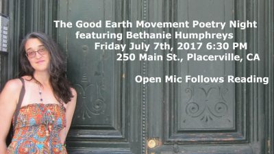 Good Earth Movement Poetry Night Featuring Bethanie Humphreys