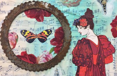 Mixed Media Collage with Found Objects