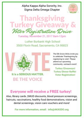 Thanksgiving Turkey Giveaway and Voter Registration Drive