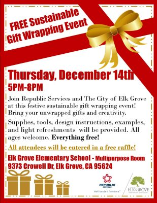 Sustainable Gift Wrapping Event at Elk Grove Elementary
