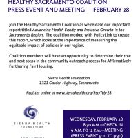 Healthy Sacramento Coalition Press Event and Meeting