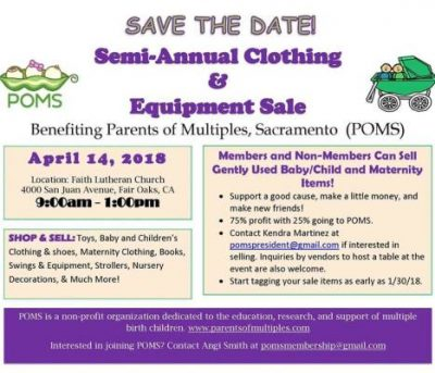 Parents of Multiples: Spring Clothing and Equipment Sale