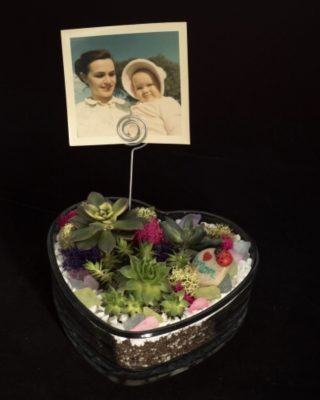 Mother's Day Glass Heart Planter Plant Nite
