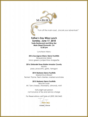 MaBeRa Father's Day Wine Lunch
