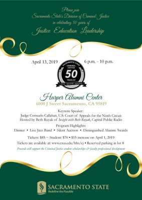 Sac State's Division of Criminal Justice 50th Anniversary Gala