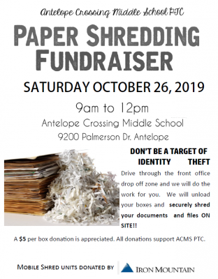 Antelope Crossing Middle School PTC Shred Event Fundraiser