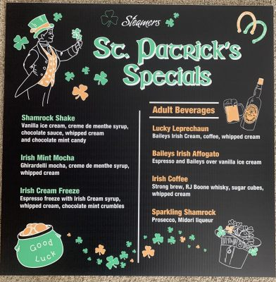 Steamers St. Patrick's Day Specials